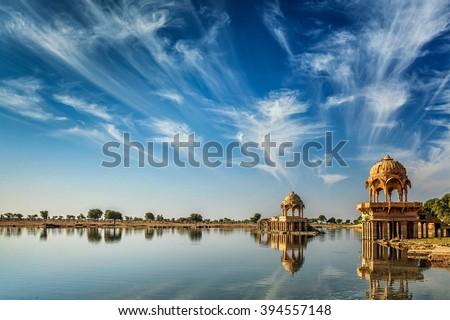 Indian landmark Gadi Sagar - artificial lake. Jaisalmer, Rajasthan, India