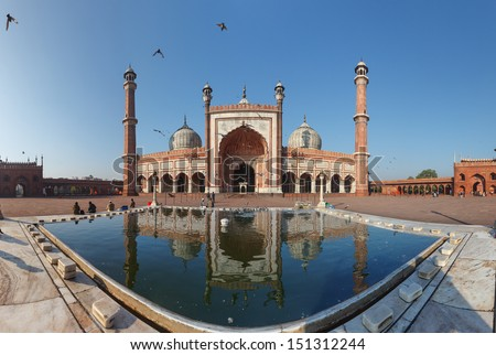 Indian landmark Jama Masjid mosque in Delhi 180 degree panorama