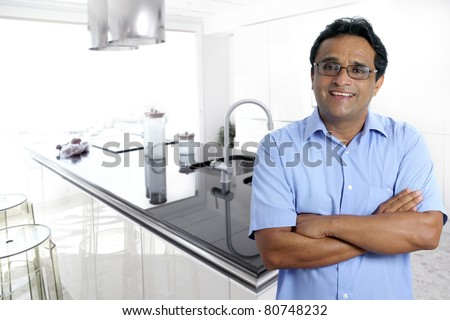 Indian Latin Architect Man Posing In Front A Modern House Interior