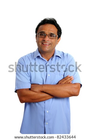 indian latin businessman with glasses and blue shirt isolated on white - stock photo