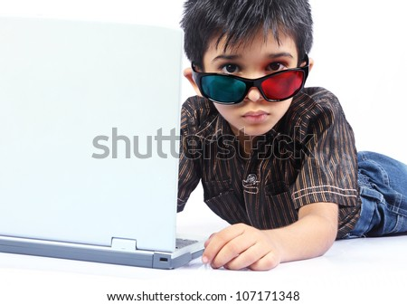 Indian Little Boy Posing to camera with 3d Glasses
