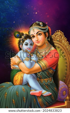 Indian Lord Krishna is seated on the chair of his mother Yashoda dark Blue Background Poster wallpaper Сток-фото ©