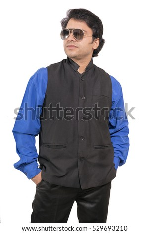 9350b4344a Royalty-free Indian male model wearing blue shirt…  528341974 Stock ...