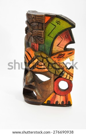Indian Mayan Aztec wooden mask with anaconda and jaguar isolated on white background (left side view ~ 60 degrees, upper take) #276690938