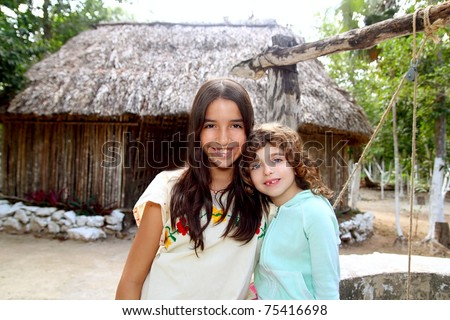 Indian mayan latin girl with her caucasian friend varied ethnicity