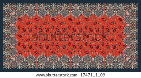 Indian Meghal art illustration textile dupatta design. textile scarf pattern design.   Stock fotó ©