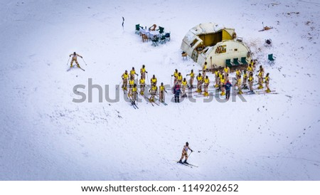 Indian Military Special Forces people getting trained for an adventure sport, Skiing. The Place is Auli in Uttarakhand & every winter, people from all over India come here to experience snow slopes fo #1149202652
