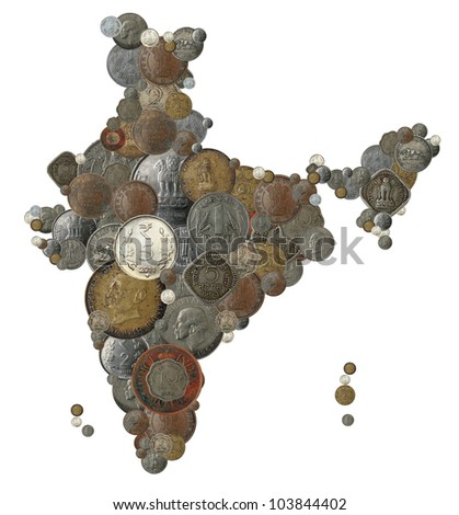 Indian money map shape created with old, new and vintage india currency coins in rupee, anna and paisa denominations