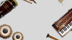 Indian musical instruments, isolated traditional indian instruments. Background Banner