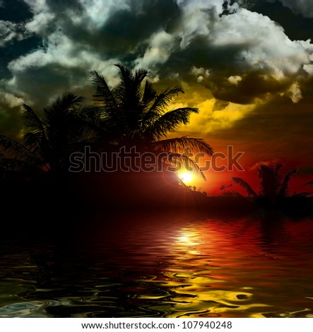 Indian ocean at the sunset