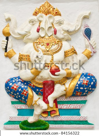 Indian or Hindu ganesha God Named Dwimukha Ganapati at temple in thailand ;The conviction will be used hand to apply to the Lord for get the wishes. #84156322