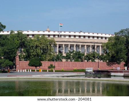 Indian Parliament House, New Delhi, India. - stock photo