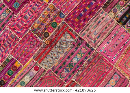 Indian patchwork carpet in Rajasthan, Asia Close up