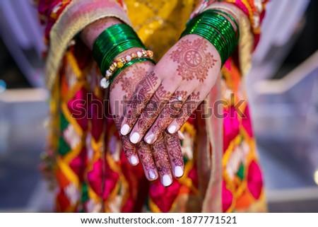 Indian Punjabi Sikh bride's wedding henna mehendi. mehndi hands close up Stock photo ©