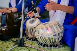 Indian Punjabi Sikh traditional musical instruments drums close up