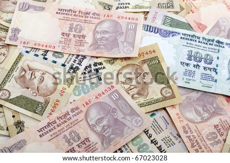 stock photo : Indian Rupee bank notes background