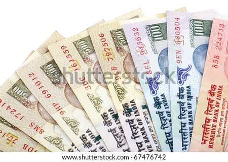 Indian Rupee bank notes on white background