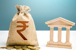 Indian rupee money bag and bank  government building. Budgeting, national financial system. Resource allocation. Support businesses in crisis. Lending loans, deposits. Monetary policy.