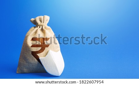 Indian rupee money bag and protection shield. Guaranteed deposits compensation. Ease doing business. Strength of financial system. Sustainable banks. Fixed interest deposit. Investment safety. Photo stock ©