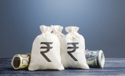 Indian rupee money bags. Capital investment, savings. Economics, lending business. Banking service, monetary policy. Profit income, dividends. Crowdfunding startups investing. Reserve currency.