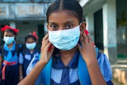 indian Rural School Girls wearing a mask