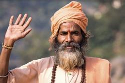 Indian sadhu (holy man). Devprayag, Uttarakhand, India.