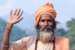 Indian sadhu , holy man) Devprayag, Uttarakhand, India.