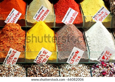 Indian saffron and colorful spices on display
