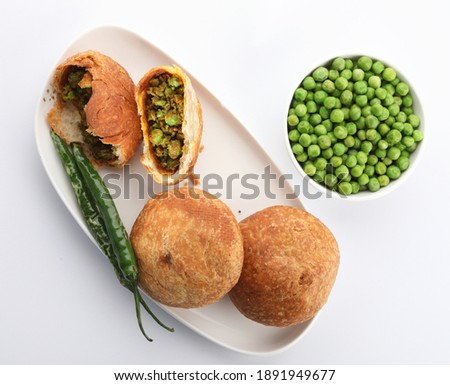 Indian special traditional matar or green peas Kachori served with hot tea Foto stock ©