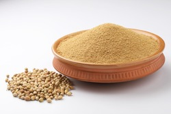 Indian spices, Coriander Powder or Dhaniya Powder with Coriander seeds