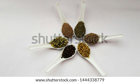 indian spices cumin seeds , fennel seeds, cumin seeds, coriander seeds, papper , cardamom in spoons isolated on white backgroud