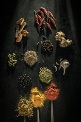 Indian spices flat lay photo. Indian spices top angle shot in black background
