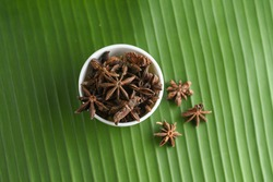 Indian spices green star anise, orgainc spice Idukki Kerala. Indian Garam masala for making spicy curry, Masala tea, Ayurvedic medicine in India. Ayurveda for good health. Ingredient of curry powder.