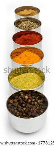 Indian spices in little stainless-steel bowls. #177812579