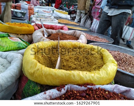 Indian Spices, Indian Traditional spices market, colorful spices, Asia spices