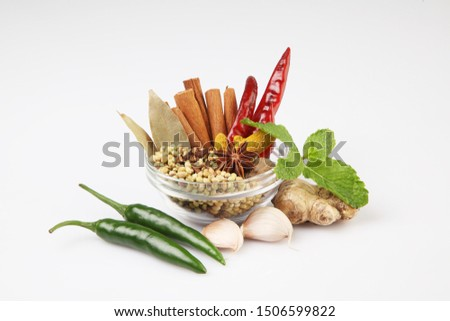 Indian Spices, mix spices in a glass bowl