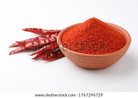 Indian spices, paprika powder or red chilli powder, selective focus Stockfoto ©