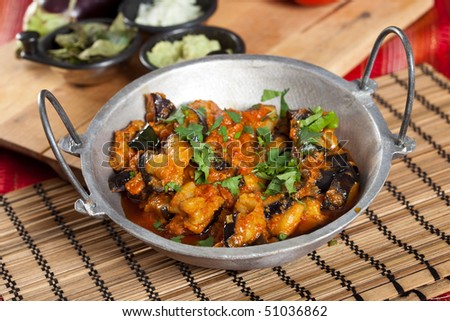 Indian style aubergine dish with fresh coriander on top