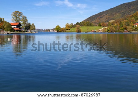 """Indian Summer on Lake """"Tegernsee&quo t; in Bavaria, Germany - stock photo"""