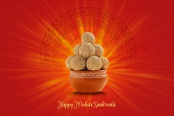 Indian sweet for traditional festival makar sankranti , Rajgira laddu made from Amaranth seed in Bowl on red background
