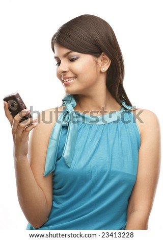 indian teenage girl with cell phone
