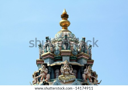 Indian temple dome with rich culture sculpture , detail