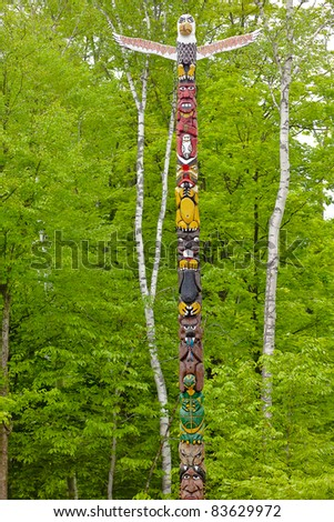 indian totem sacaomie lake in quebec canada
