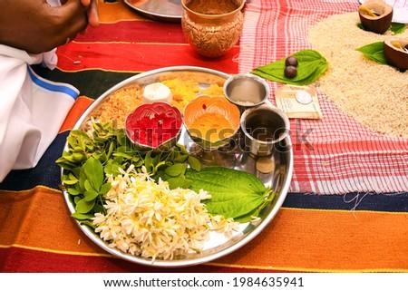 Indian tradition kum kumand haldi  powder in a prayer cup Stok fotoğraf ©