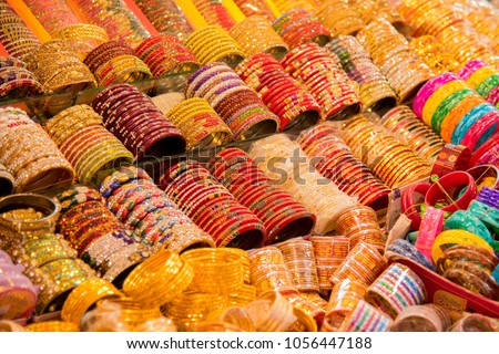 Indian traditional Bangles or bracelets for sale in the market, india - Shutterstock ID 1056447188