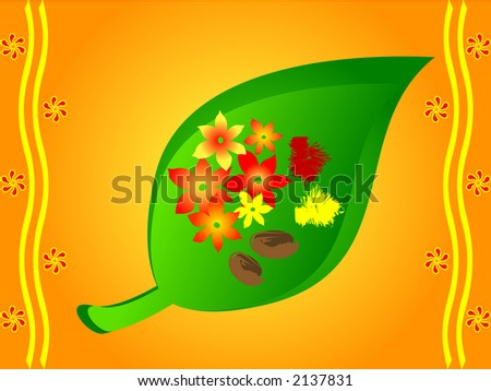 Indian traditional betel leaves with arecanut,flowers and haldi kumkum offered during festivals