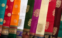 Indian traditional clothes saris Background