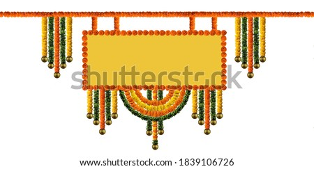 Indian Traditional flower decoration, Indian festival garland, Orange and yellow Marigold Flower and green leaf garland decoration for indian festival