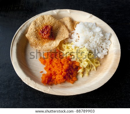 Indian traditional food.Rice with saffron and curry.