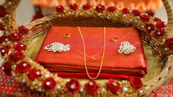 Indian Traditional Gold Necklace and saree with Gemstones